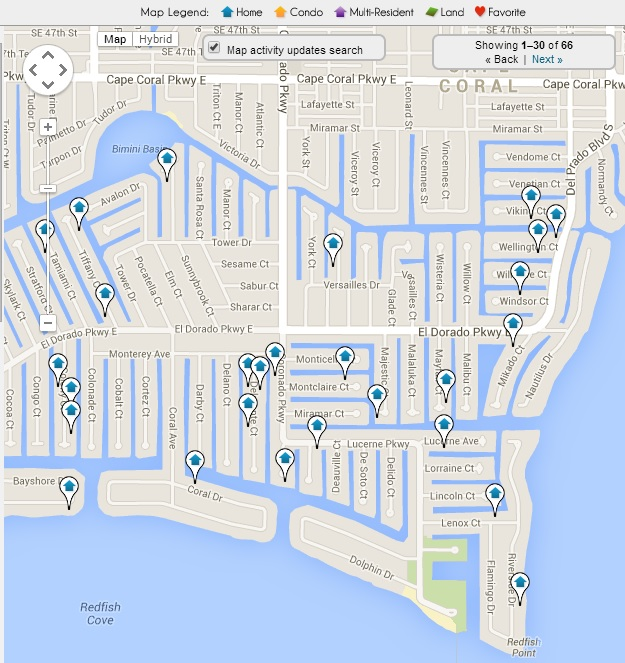 Cape Coral Yacht Club Map of Homes for Sale