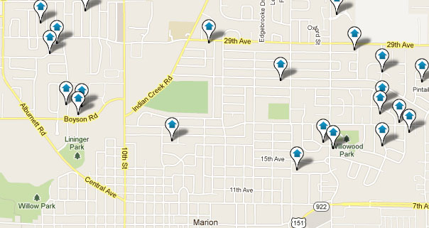Marion Real Estate Search Map