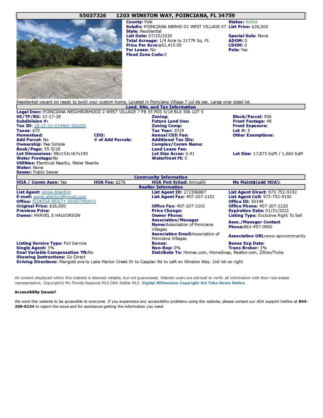 1203 Winston Way Poinciana FL 34759 Vacant Land