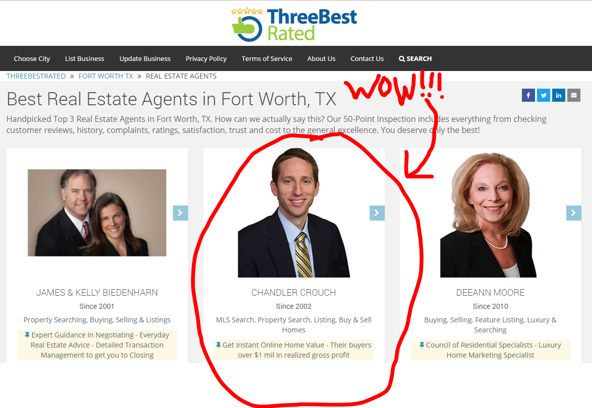 Best agent in Fort Worth Chandler Crouch Realtors