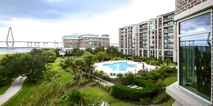 Pool and grounds of Renaissance at Charleston Harbor