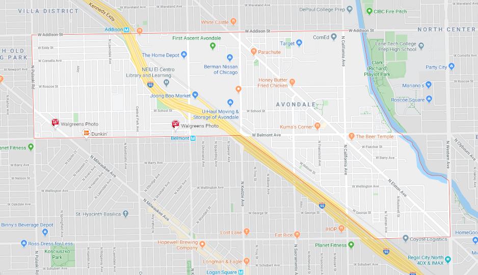 Avondale Neighborhood Map