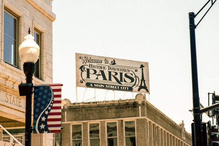 Historic Paris Sign Downtown Square, Paris
