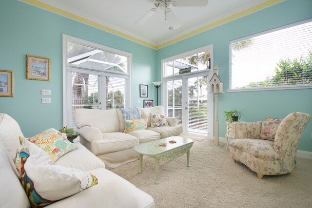 Family Room with Views of the Pool and Canal