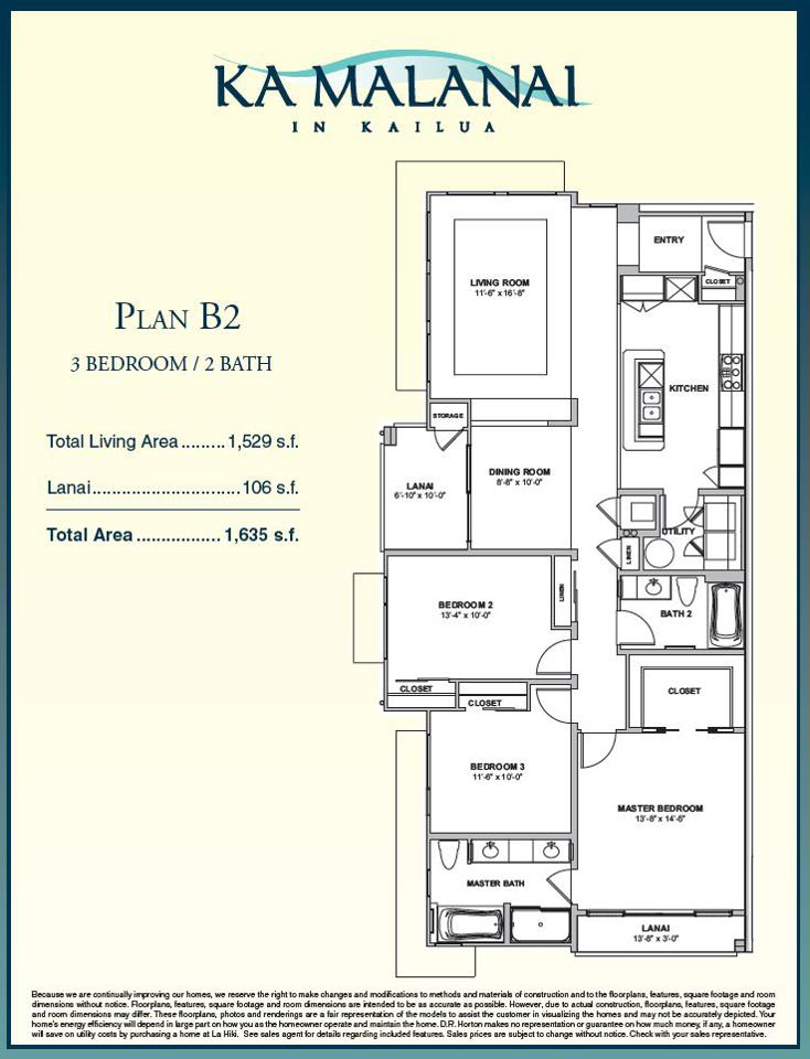Ka Malanai 3 bedroom floorplan