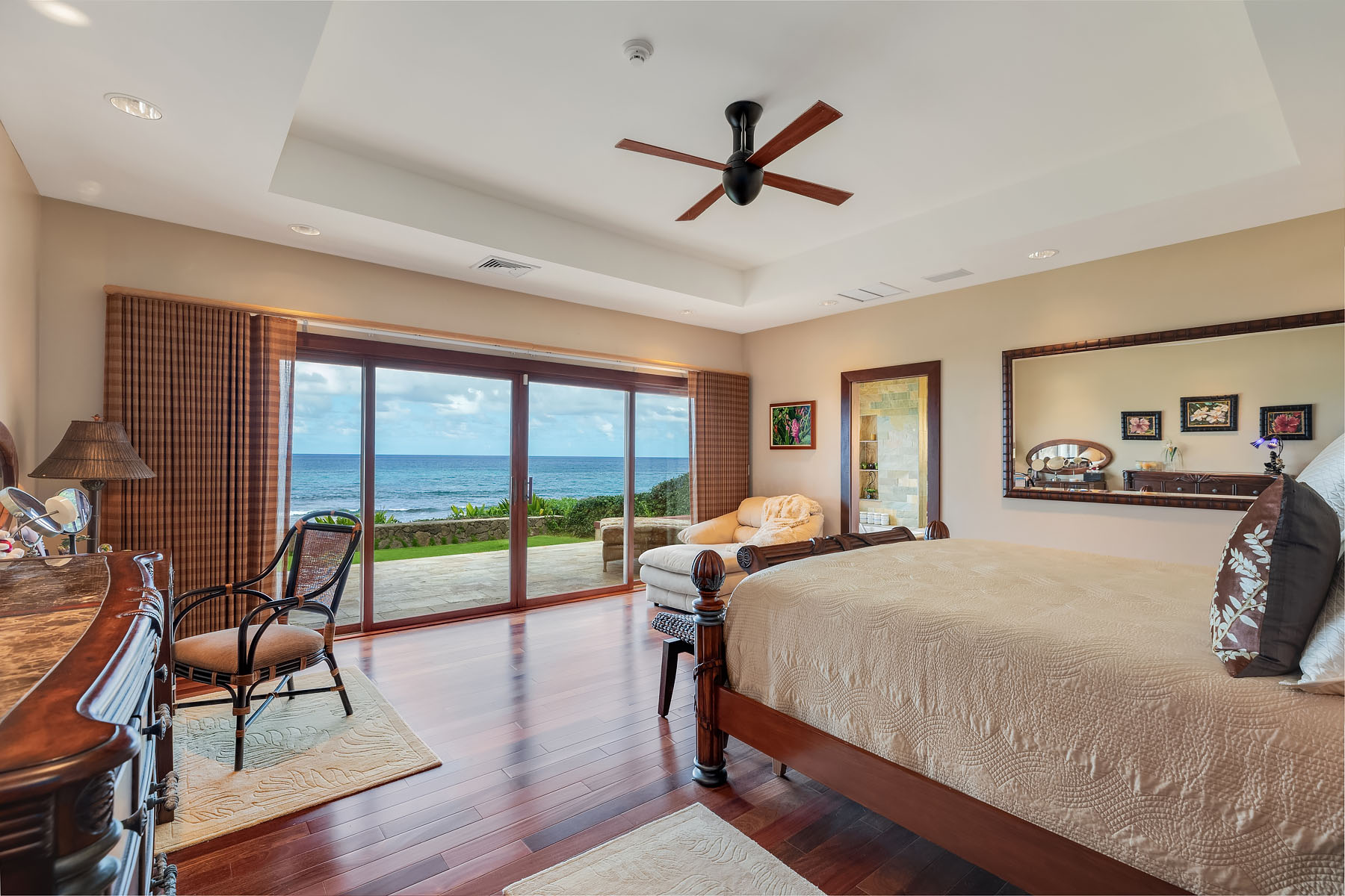 master bedroom north shore estate oahu beachfront