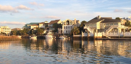Homes with boat slips on Wrightsville Beach, NC.