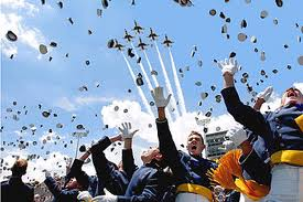 Air Force Academy Graduation Hats in Air