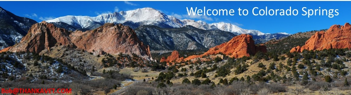 View of Colorado Springs, Garden of the Gods & Pikes Peak