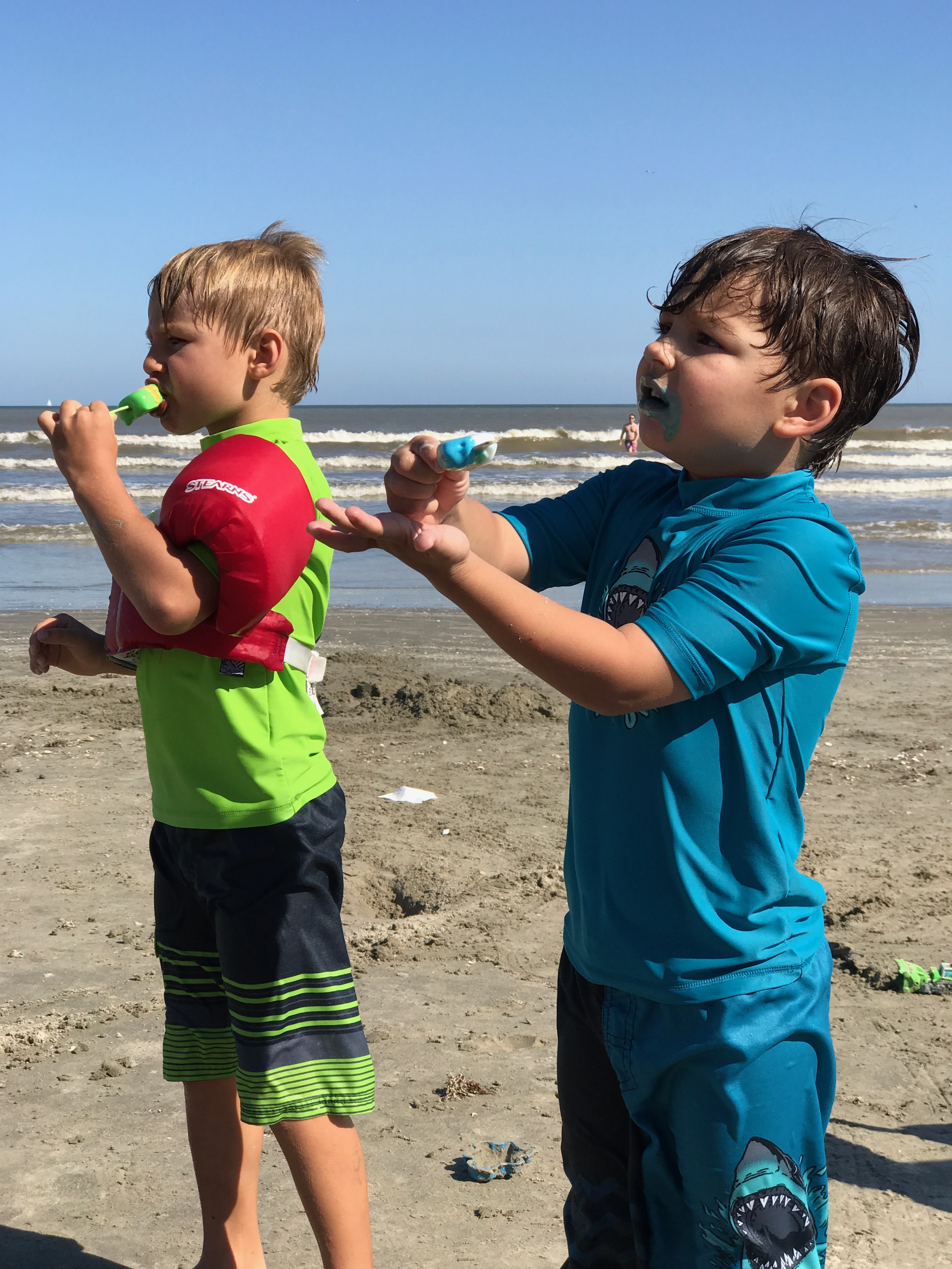 boys at Galveston Beach