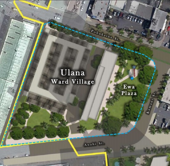 A rendering of Ulana Ward Village and Ewa Plaza