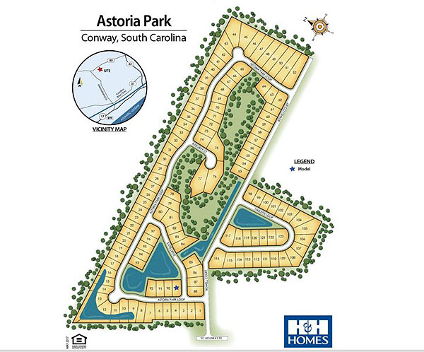 Sitemap for Astoria Park in Conway