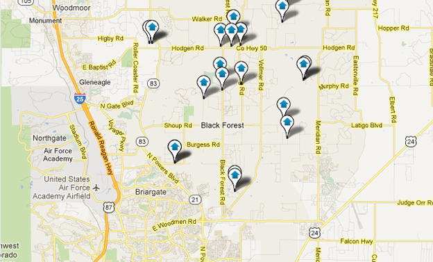 Black Forest Colorado Springs Real Estate Map Search
