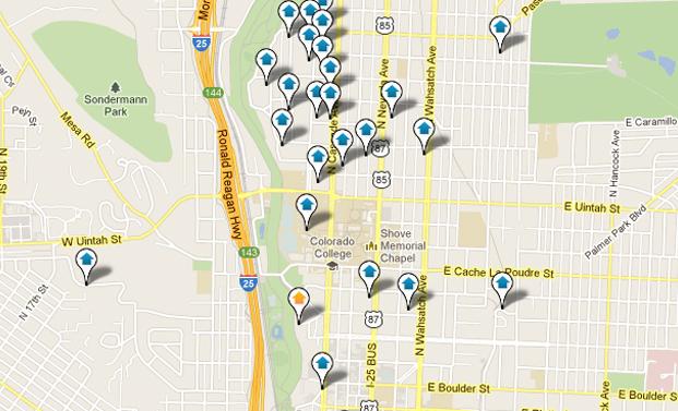 Central Colorado Springs Real Estate Map Search