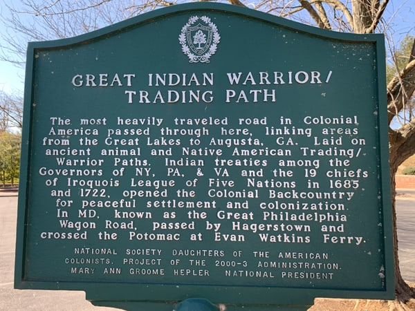 Indian Trail Plaque - Hagerstown MD