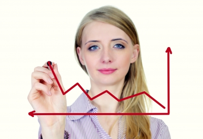 women drawing a business growth chart
