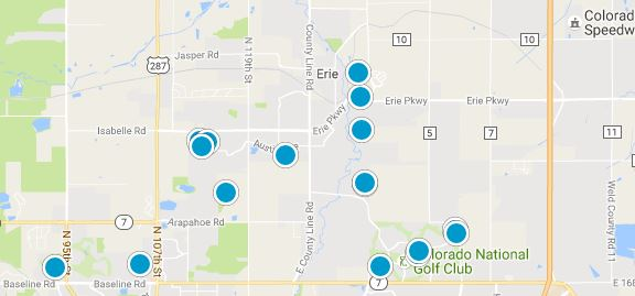 Erie co homes for sale map