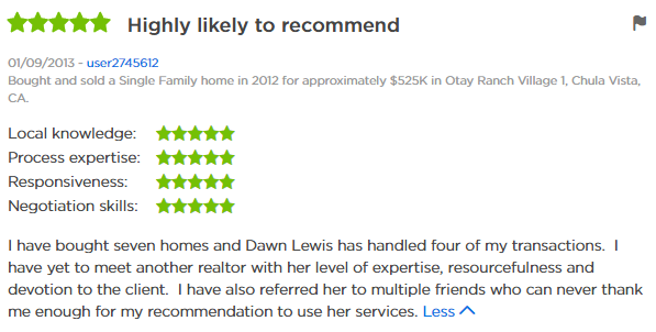 Chula Vista Realtor - Chula Vista 5 Star Realtor Zillow Review - Dawn Lewis Realtor with The Lewis Team at Keller Williams Chula Vista