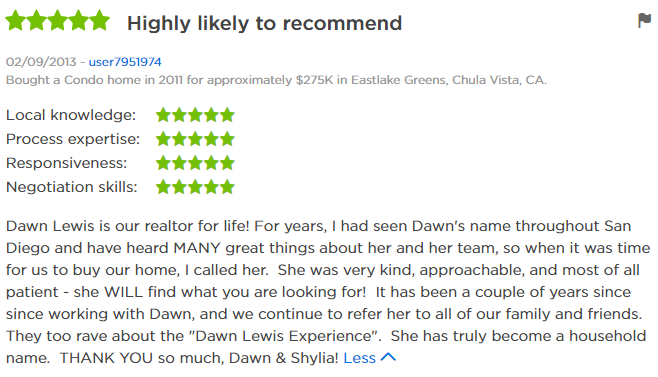 Eastlake Greens Top Zillow Agent - 5 Star Agent Zillow Review East Lake Greens - Dawn Lewis with The Lewis Team at Keller Williams