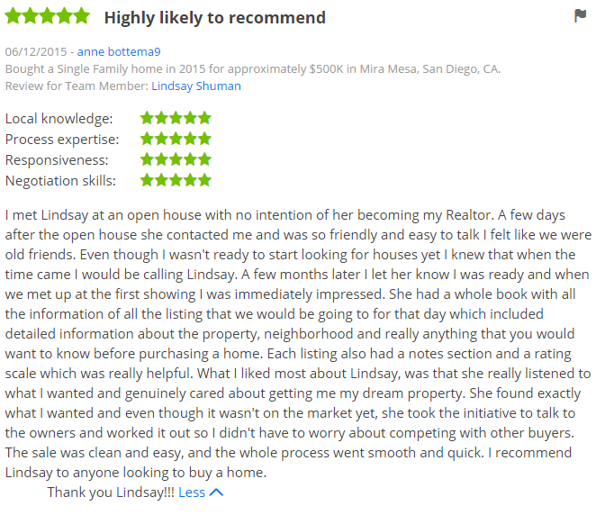 Five Star Zillow Agent Reviews Purchased a Home in Mira Mesa San Diego - The Lewis Team in San Diego