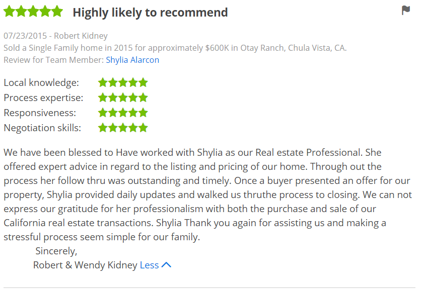 Five Star Zillow Reviews in Otay Ranch Chula Vista - The Lewis Team in San Diego Premier Zillow Agents