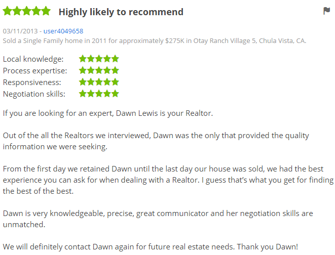 Otay Ranch Top Zillow Agent - Otay Ranch Chula Vista Agent Zillow Review - Dawn Lewis with The Lewis Team
