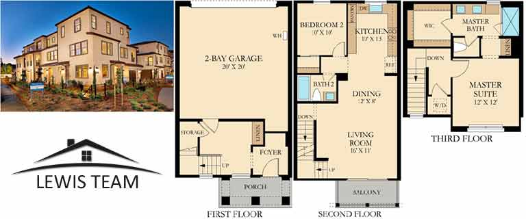 Residence 3 Floor Plan The Collection at St Cloud San Diego New Homes in Oceanside CA