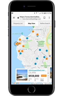 Searching for San Diego Homes on an iPhone