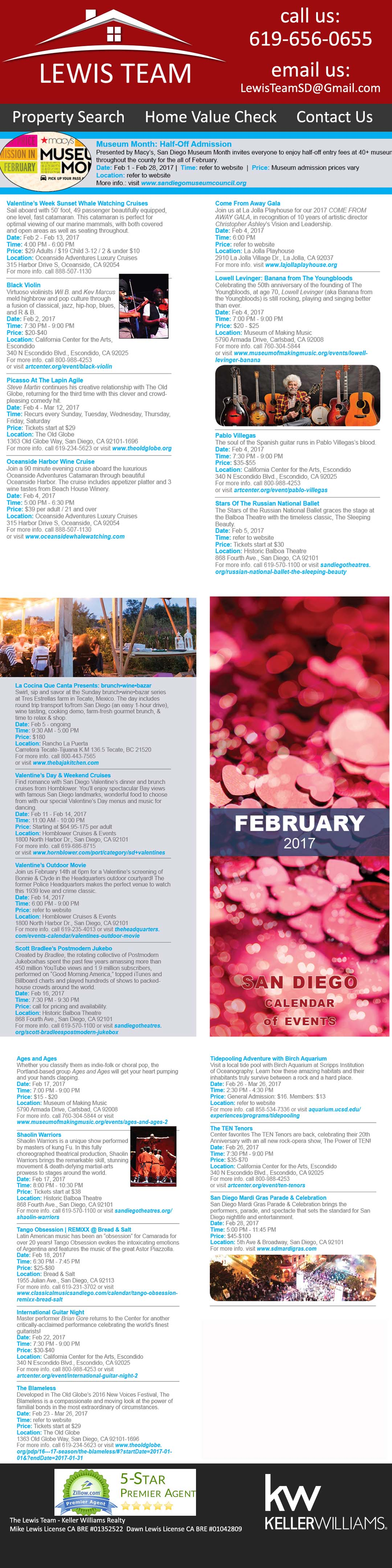 The-Lewis-Team-Calendar of Events in San Diego February 2017