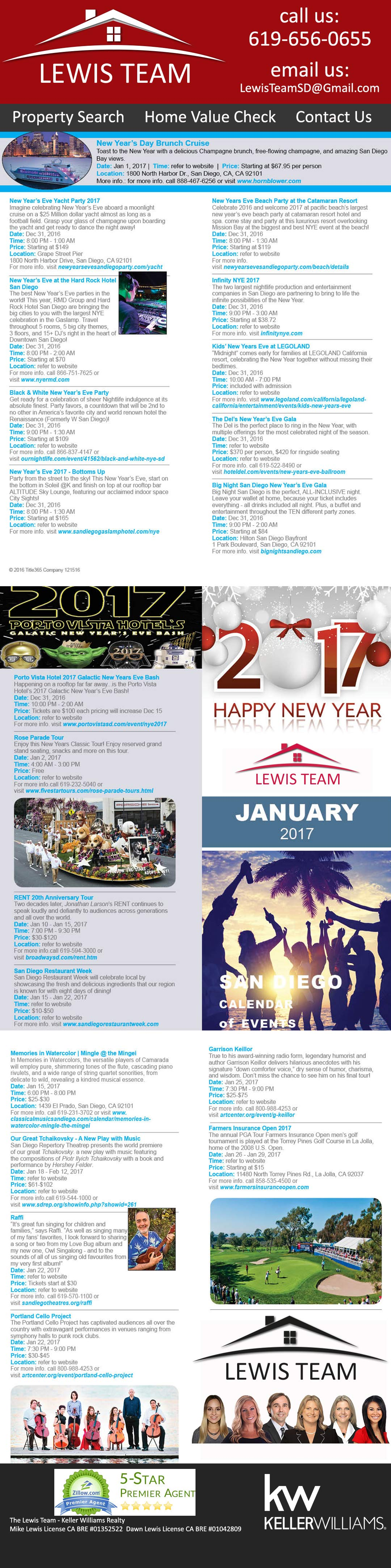 The-Lewis-Team-Calendar of Events in San Diego January 2017