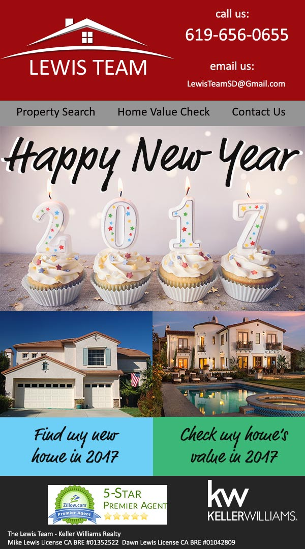 Happy New Year 2017 from The Lewis Team at Keller Williams in San Diego