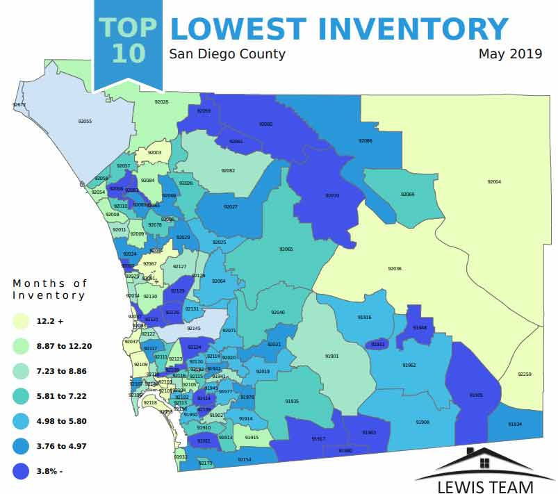 Top 10 Lowest Inventory San Diego 2019 May