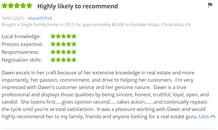 ZILLOW 5 Star Review Dawn Lewis - Bought a Home in Eastlake Vistas Chula Vista Zillow Review - The Lewis Team