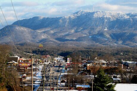 View of Seymour tn looking at Snow covered mountain