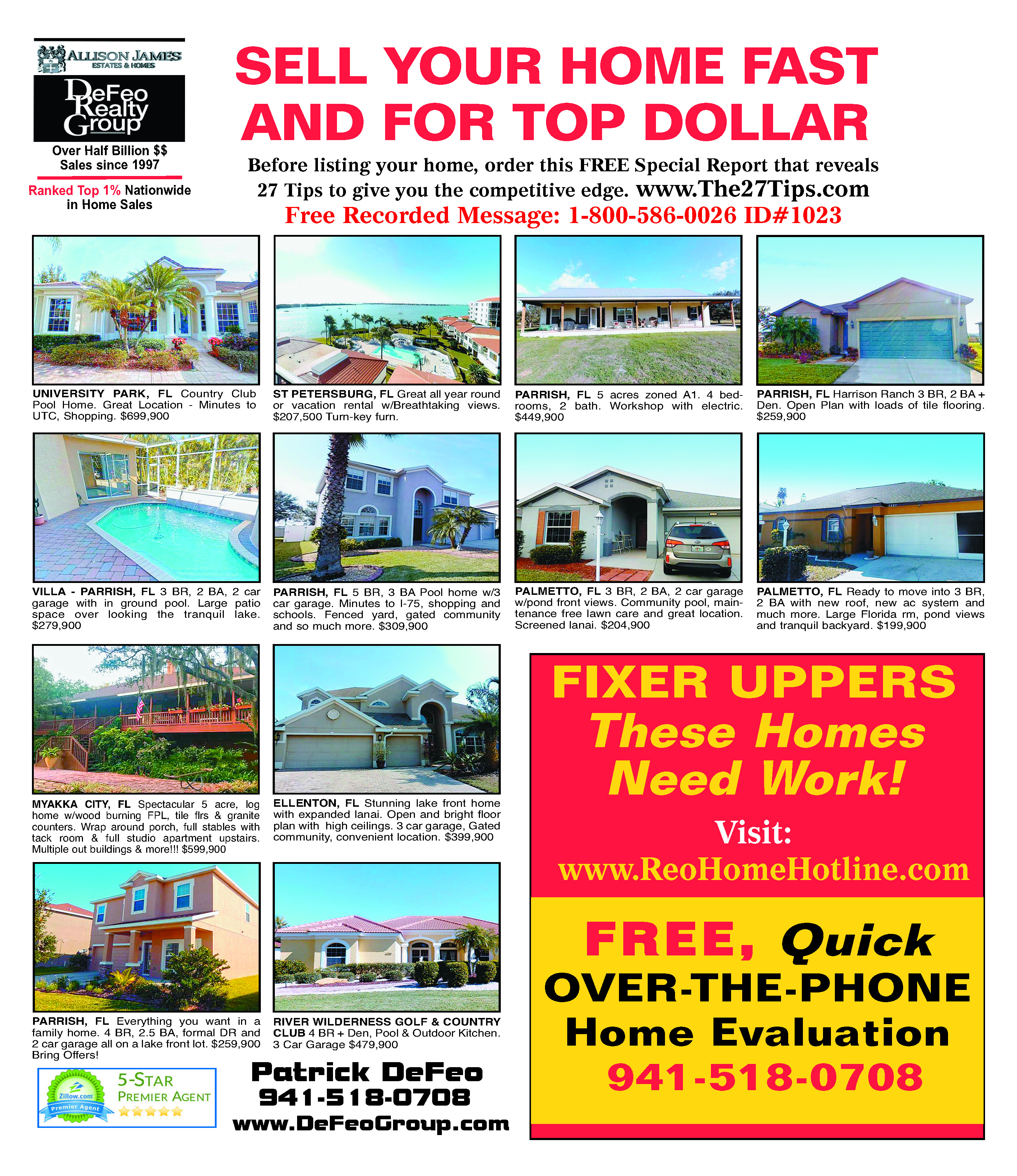 our marketing patrick defeo ii 941 518 0708 palmetto fl your home syndicated on over 500 real estate websites