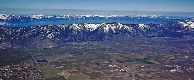 Aerial View of Genoa in Carson Valley with Lake Tahoe behind
