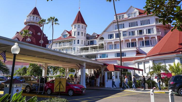 When the resort's upgrade is ultimately finished, the Hotel Del Coronado will have a grand new entryway lined with palm trees that will provide a more imposing arrival experience for people visiting the hotel. (Hayne Palmour IV / San Diego Union-Tribune)