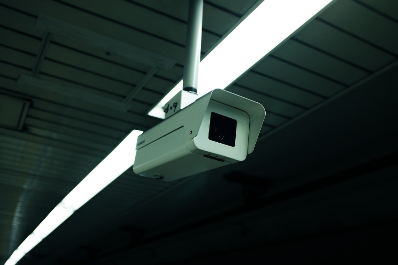 security camera attached to ceiling