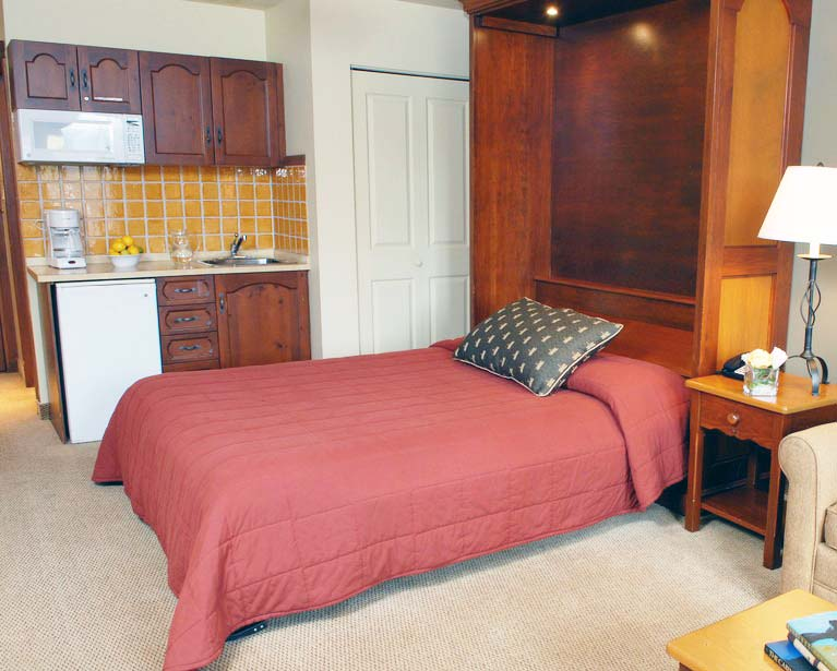 A studio apartment featuring a Murphy bed built into a wood cabinet. The bed is pulled down in front of a kitchenette.