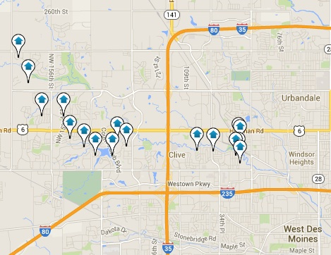 Clive Homes for Sale Map Search Results