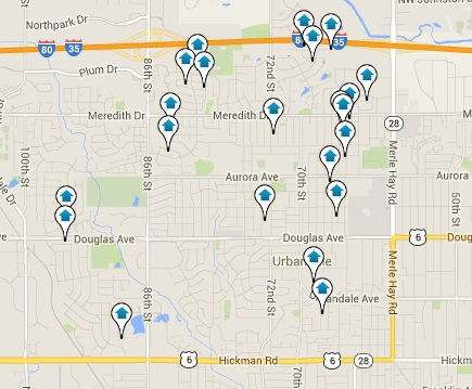 Urbandale Iowa Homes for Sale Map Search Results