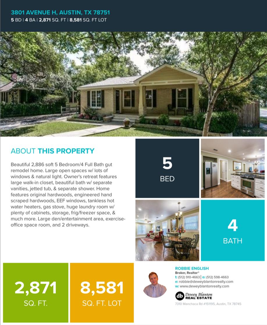 3801 Avenue H Austin TX 78751 a Dewey Blanton Real Estate Listing