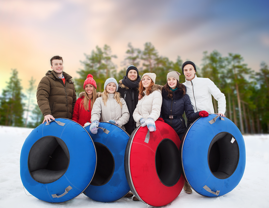 Park City real estate owners go snow tubing.