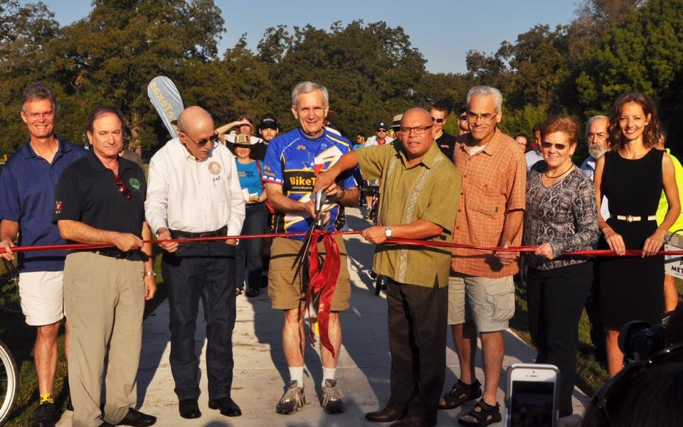 Trail Ribbon Cutting, Saturday 10/25/14. Photo courtesy of Lloyd Doggett's facebook page.