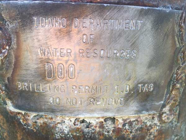 Sample Idaho Well Tag