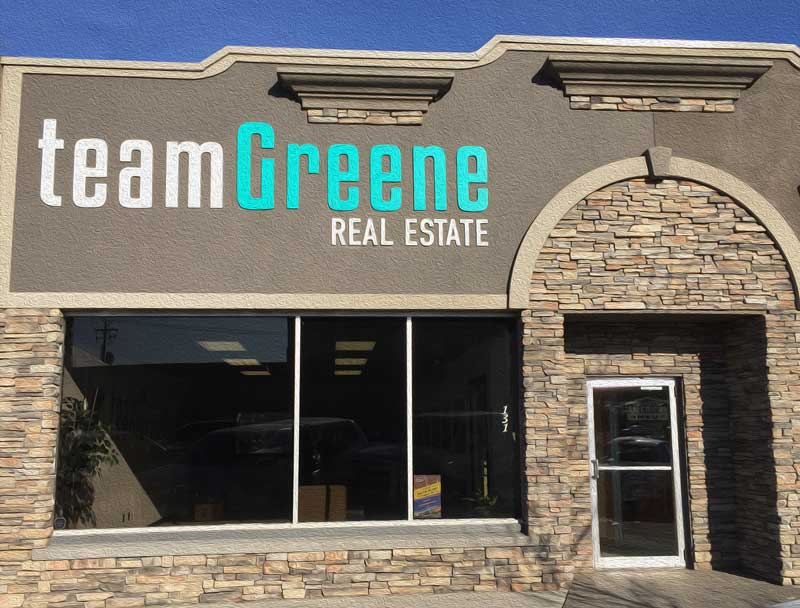 Outside the real estate office At Team Greene