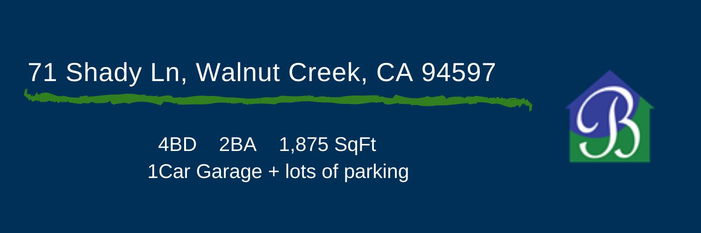 Listing Agent for 71 Shady Lane, Walnut Creek, CA 94597
