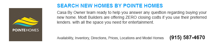 El Paso tx new homes for sale by Pointe home Builders