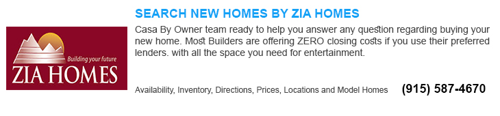 NEW HOMES FOR SALE IN El Paso TX BY ZIA HOME BUILDERS