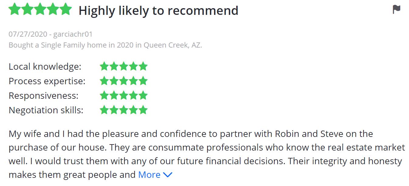 Drew Team sold review 5 star queen creek san tan valley best realtor